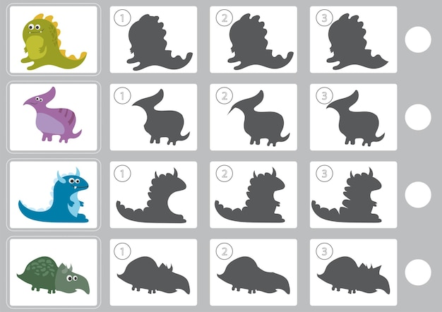Vector illustration of shadow matching game with cartoon dinosaur for children