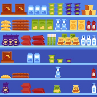 Vector illustration of shelves in a supermarket