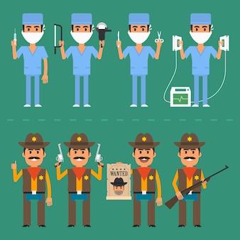 벡터 일러스트 레이 션, 보안관 및 외과 의사 다양 한 포즈, eps 10 형식입니다.