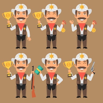 Vector illustration, sheriff cowboy holds cup medal and money, format eps 10