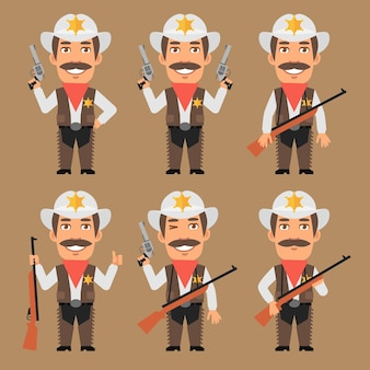 Vector illustration, sheriff cowboy holds weapons, format eps 10