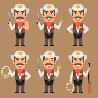 Vector illustration, sheriff cowboy holds weapons and rope, format eps 10