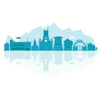 Vector illustration of shimla skyline.