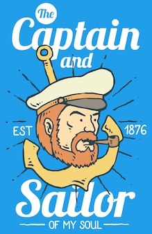 Vector illustration of ship captain with beard and smoking pipe