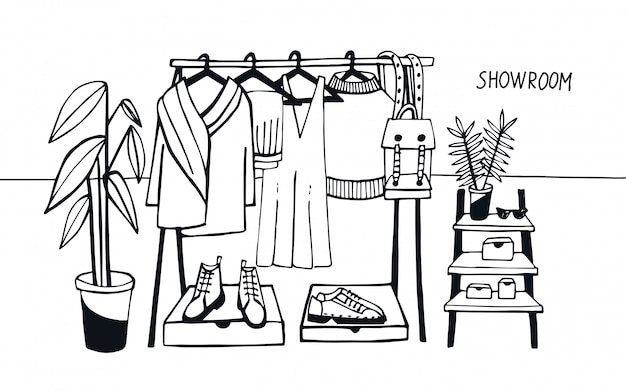 Vector illustration showroom. coat rack with clothes, bags, boxes and shoes, fashion, modern style.