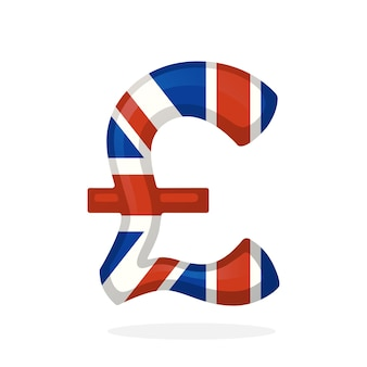 Vector illustration sign of pound in national flag colors symbol of world currencies