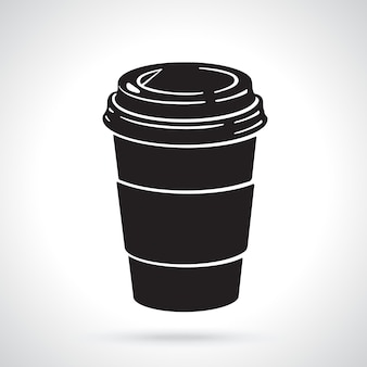 Vector illustration silhouette of disposable paper cup with coffee or tea
