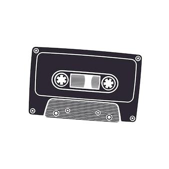 ベクトルイラストレトロなオーディオカセットのシルエットステレオ音楽用アナログメディア