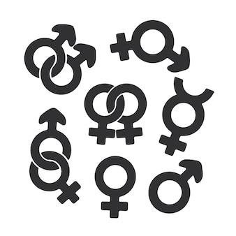 Vector illustration silhouette set of gender symbols gender pictograms template or pattern
