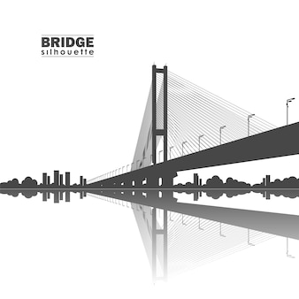 Vector illustration: silhouette of south bridge