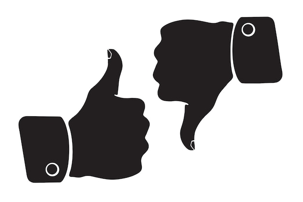 Vector illustration silhouette of thumb up and thumb down symbols of like and dislike