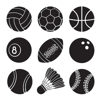 Vector illustration silhouettes of football soccer basketball volleyball sport balls icons set