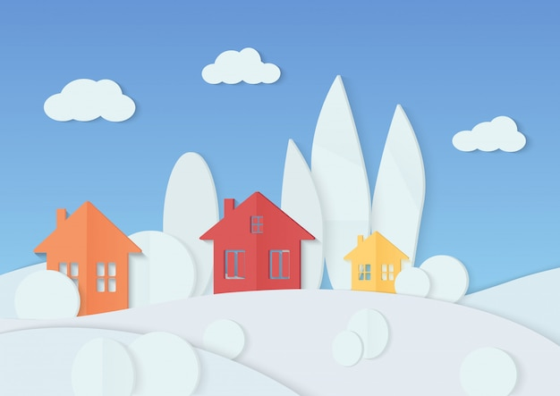 Vector illustration of simple colorful houses placed in minimal trees covered with snow.