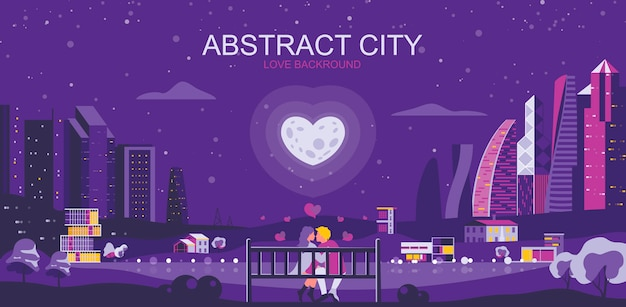 Vector illustration in simple flat style - romantic city landscape with couple in love
