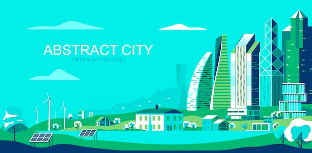 Vector illustration in simple flat style - sustainable city landscape with eco friendly technologies
