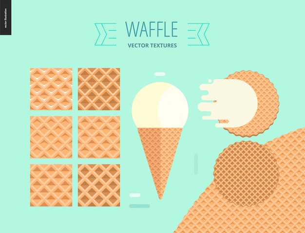 Vector illustration of six seamless waffle patterns