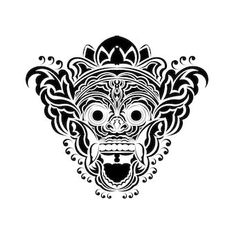 Векторная иллюстрация, эскиз традиционной балийской маски баронг, подходящей для использования в качестве принта на футболке.