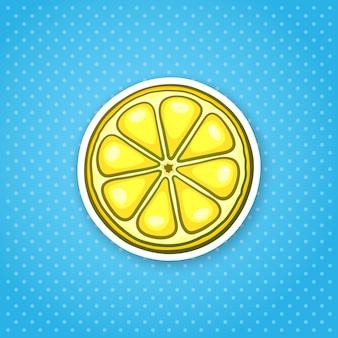 ベクトルイラストレモンのスライスカットフレッシュオレンジヘルシーベジタリアンフードステッカー
