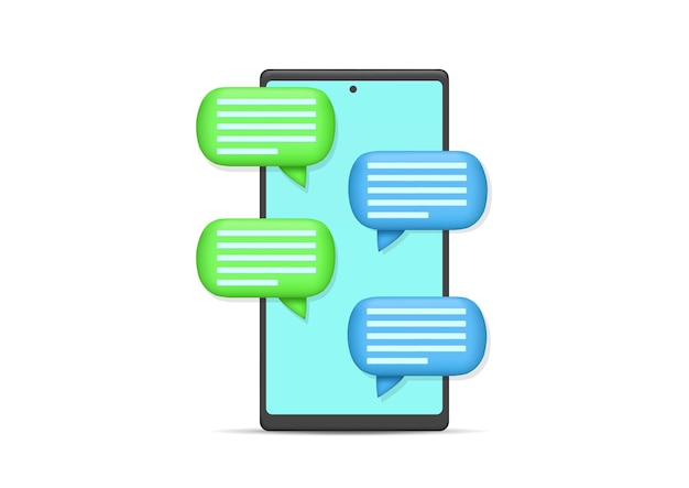 Vector illustration smartphone with bubble chat. isolated on white