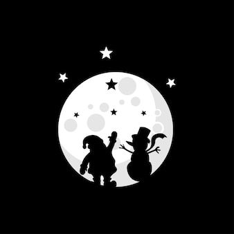 Vector illustration of a snowman and santa claus on the moon