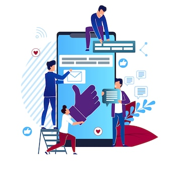 Vector illustration social media cartoon flat. closeup big smartphone