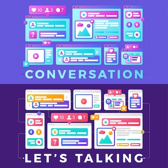 Vector illustration of a social media communication concept. the word conversation with colorful cross-platform browser windows
