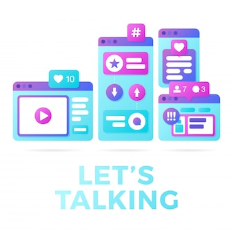 Vector illustration of a social media communication concept. the word lets talking with colorful cross-platform browser windows
