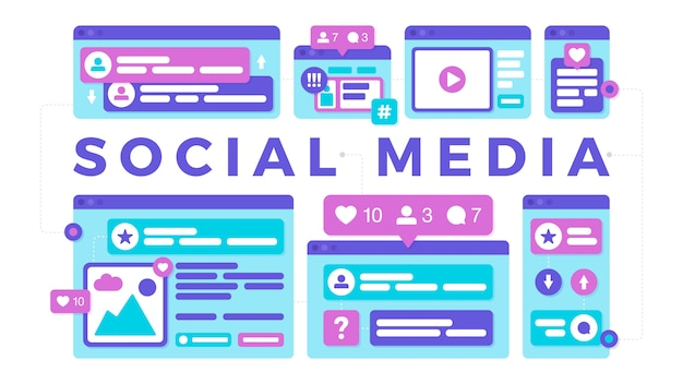 Vector illustration of a social media communication concept. the word social media with colorful cross-platform browser windows