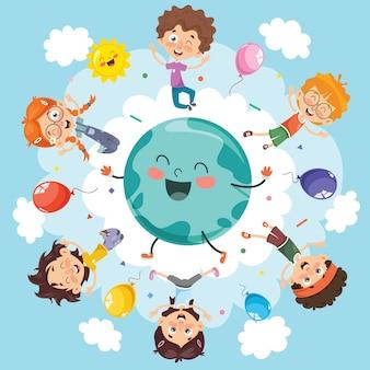 Vector illustration of space children