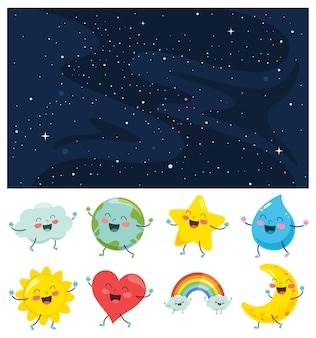 Vector illustration of space elements