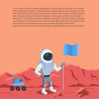 Vector illustration of space rocket launch and astronaut photo on planet