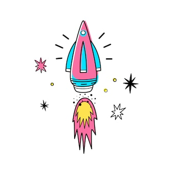 Vector illustration of space rocket and stars.