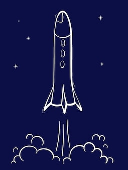 Vector illustration of space ship launch. rocket start. doodle cartoon outline space shuttle
