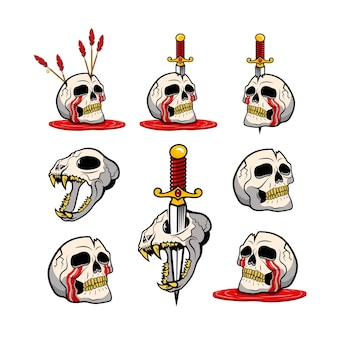 Vector illustration of spooky humans and animal skulls with knives and arrows