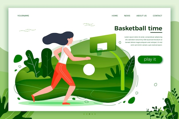Vector illustration - sporty girl playing basketball. court, park, trees and hills on green background. banner, site, poster template with place for your text.