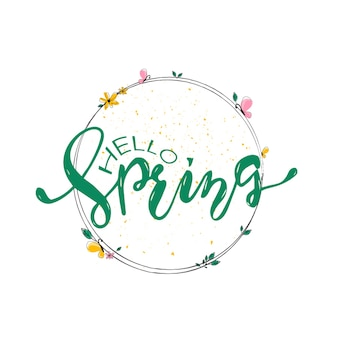 Vector illustration of spring lettering and wreath