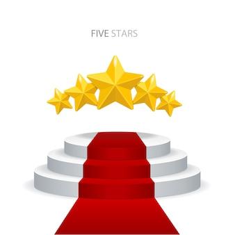 Векторная иллюстрация сценический подиум с красной ковровой дорожкой и звездами на белом фоне vip-концепция