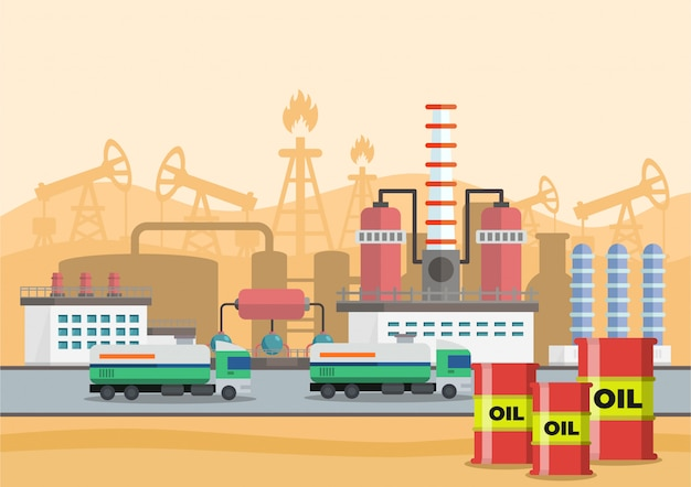 Vector illustration of stages of production of oil