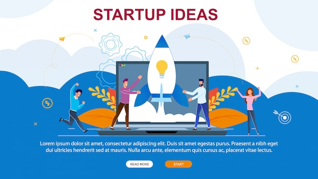 Vector illustration startup ideas landing page.