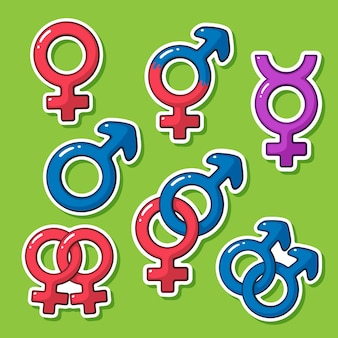 Vector illustration sticker set of gender symbols in cartoon style with contour