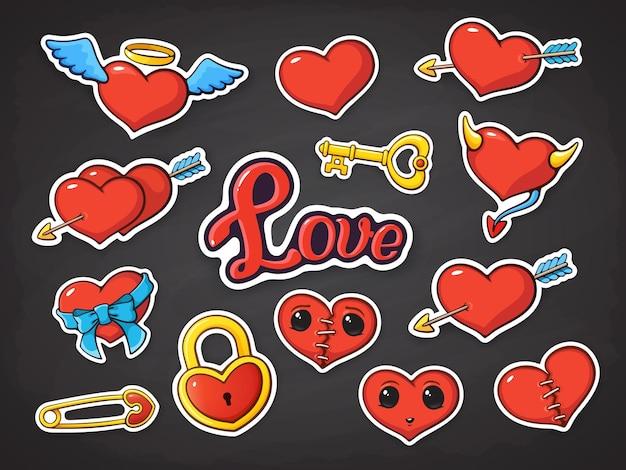 バレンタインデーの心のベクトルイラストステッカーセット