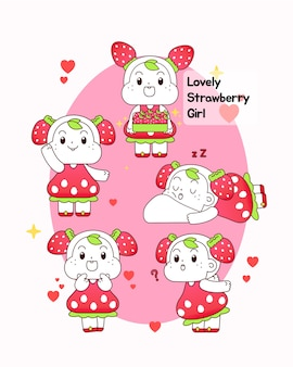 Vector illustration of strawberry girl