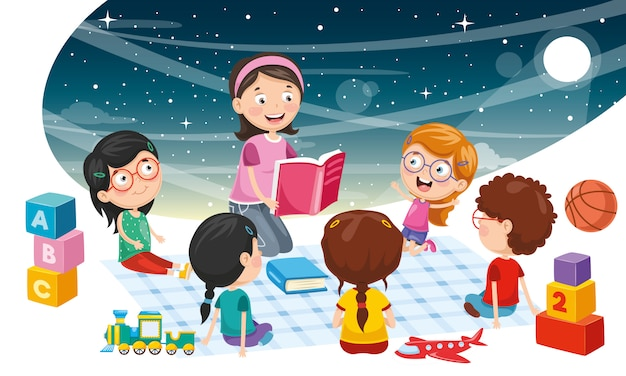 Vector illustration of student children background