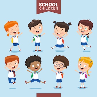 Vector illustration of student kids