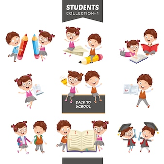 Vector illustration of students collection