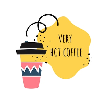 Vector illustration in the style of doodle. coffee cup. coffee to go/