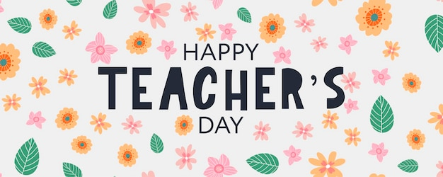 Vector illustration of a stylish text for happy teacher's day flowers