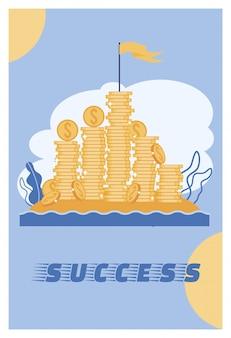 Vector illustration success lettering cartoon.
