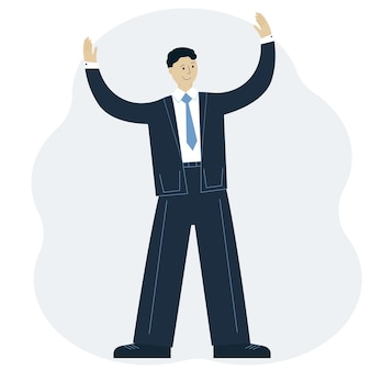 Vector illustration of a successful man in a suit with his hands up. business achievement concept