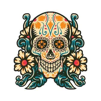 Vector illustration of sugar skull with flower border